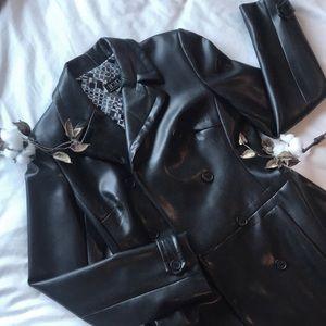 BCBG Max Azria long leather coat